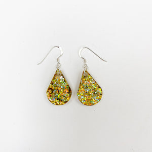 EcoStardust Amnesty Glitter Earrings - Gold Holo Pear Drops