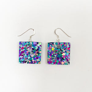 EcoStardust Amnesty Glitter Earrings - Peacock Glitter Small Squares