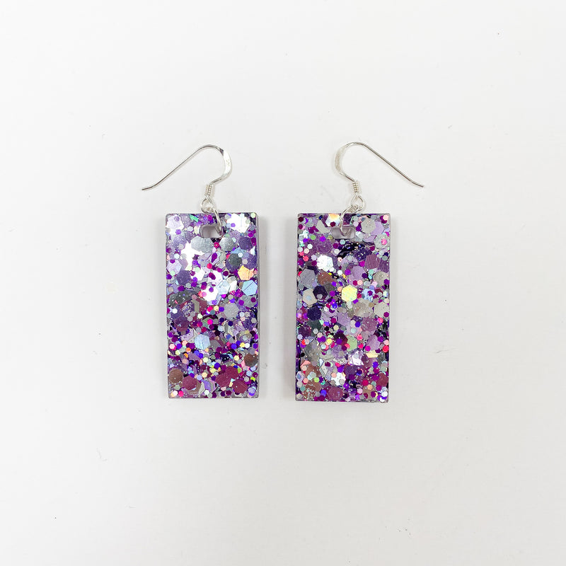 EcoStardust Amnesty Glitter Earrings - Purple & Silver Holo Large Rectangles