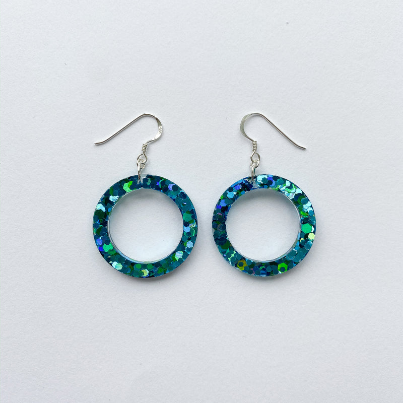 EcoStardust Amnesty Glitter Earrings -  Turquoise Sea Green Glitter Circles