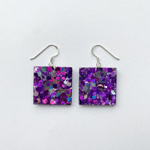 EcoStardust Amnesty Glitter Earrings - Deep Pink Glitter Small Squares