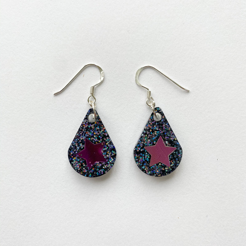 EcoStardust Amnesty Glitter Earrings - Graphite Pink Star Pear Drops