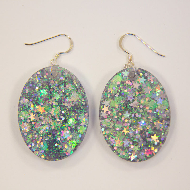 EcoStardust Amnesty Glitter Earrings - Ice Holo Large Oval Glitter Earrings