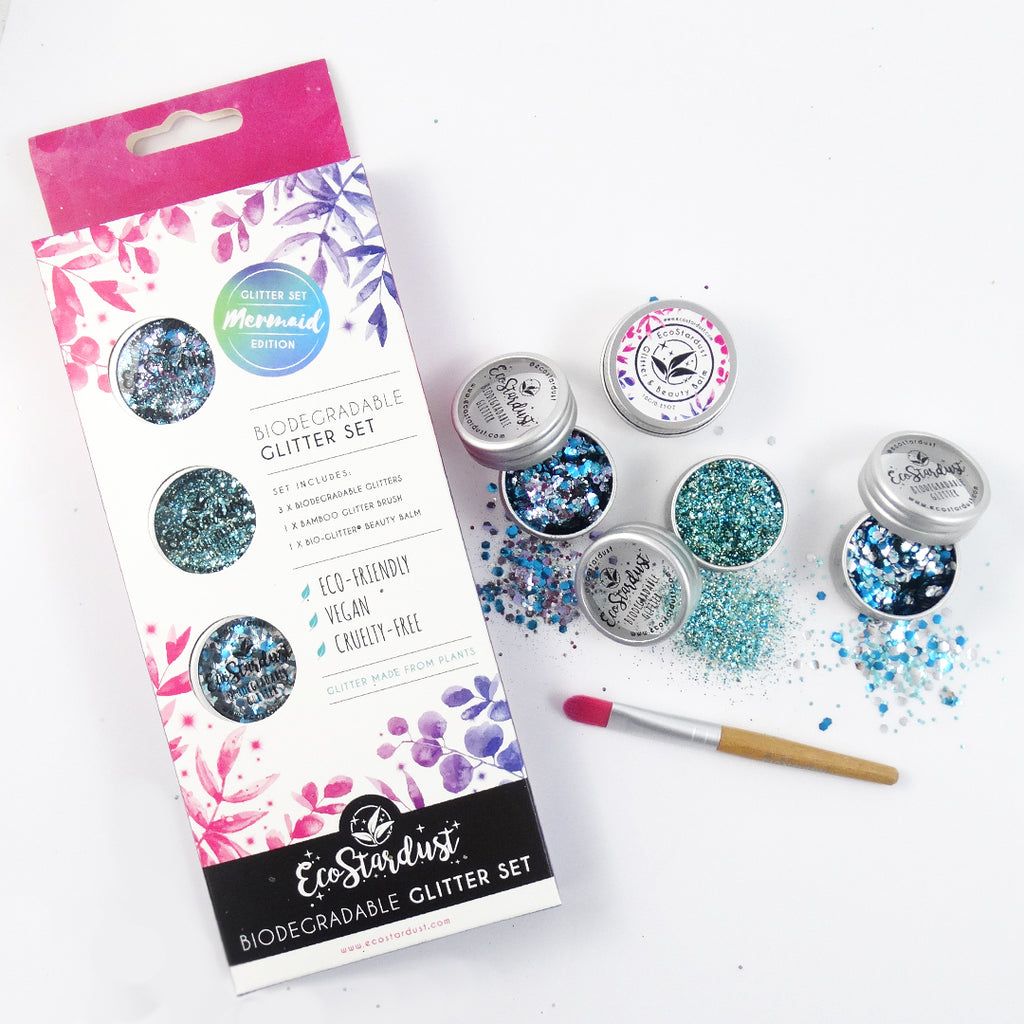 EcoStardust Mermaid Biodegradable Trio-Glitter, Balm, Brush Set - EcoStardust