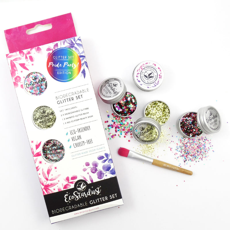 EcoStardust Pride Party Biodegradable Trio Glitter, Balm and Brush Set