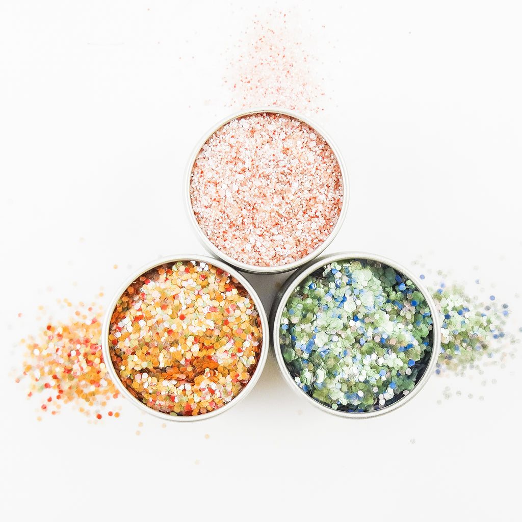 EcoStardust Retro Biodegradable Trio-Glitter, Gel, Brush Set PURE - EcoStardust