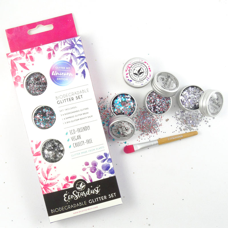 EcoStardust Unicorn Biodegradable Trio Glitter, Balm and Brush Set - EcoStardust