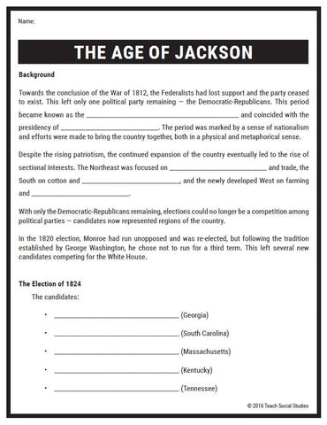 Age of Jackson Notes