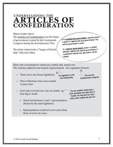 Articles of Confederation Notes