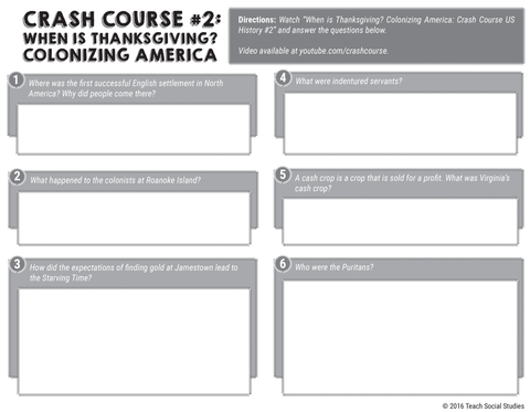Crash Course US History #02 Questions