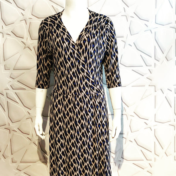 Lapis Leopard Wrap Dress