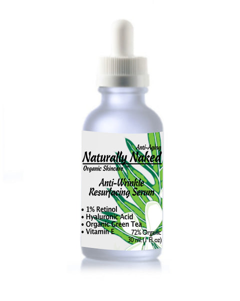 Looking for Natural & Organic Anti-Wrinkle Resurfacing Serum, 1% Retinol? #1 Recommended Dermatology Product. Purchase Your Naturally Naked Skincare Today! Anti Aging Gel, Helps Diminish Wrinkles, Crows feet, Creepy skin, Fine Lines. Kosher Cert. Mat.
