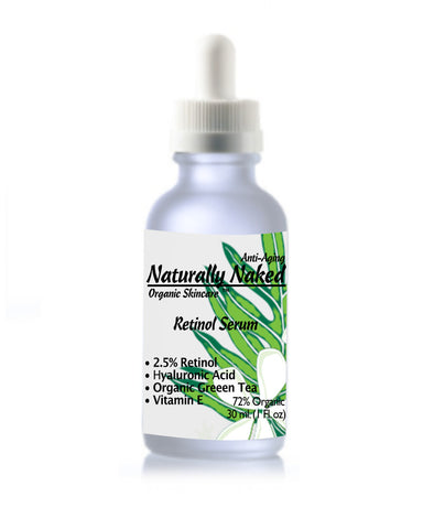 Looking for Natural & Organic Retinol? 2.5% Retinol Serum & Moisturizer? #1 Recommended Dermatology Product. Purchase Your Naturally Naked Skincare Today! Anti Wrinkle Serum & Anti Aging Gel, Helps Diminish Wrinkles, Crows feet, Crepey skin, Fine Lines with Hyaluronic Acid, Vitamin E, Kosher Cert Mat.