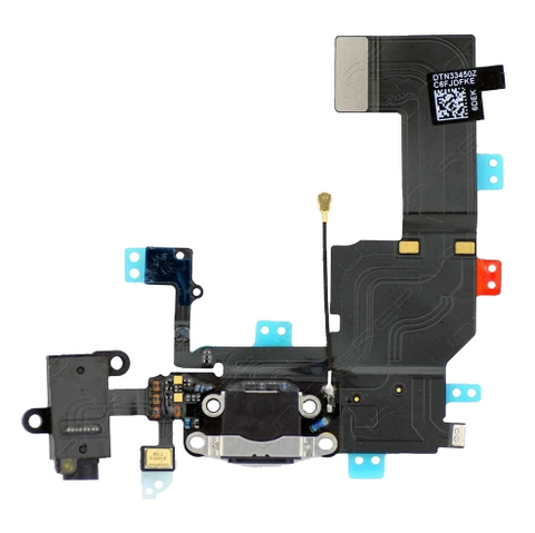 Charging Port with Headphone Jack Flex Cable - Black (iPhone 5c)