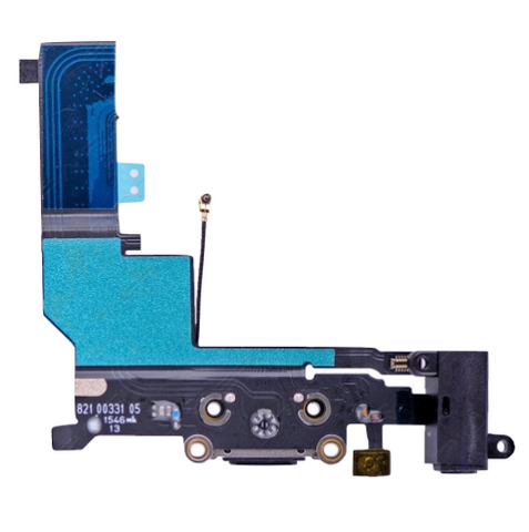 Charging Port with Headphone Jack Flex Cable - Black (iPhone SE)