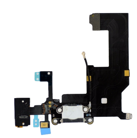 Charging Port with Headphone Jack Flex Cable - White (iPhone 5)