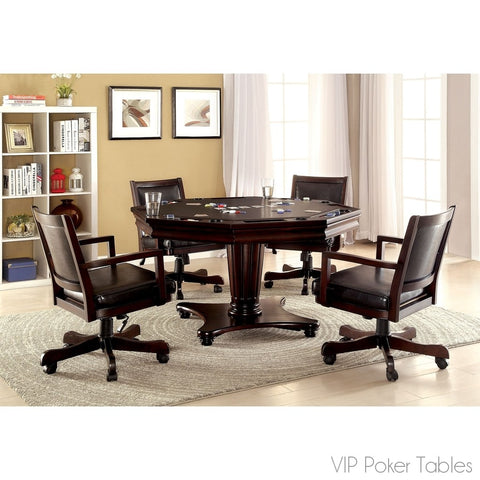 "Poker Table - Furniture Of America 56"" Raelle 4-in-1 IDF-GM341T Poker Dining Table"
