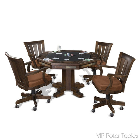 "Poker Table - Sunny Designs 54"" Santa Fe 1004DC Poker Dining Table With Pedestal Base"