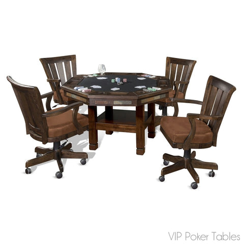 "Poker Table - Sunny Designs 54"" Santa Fe 1005DC Poker Dining Table With 4-Legged Base"
