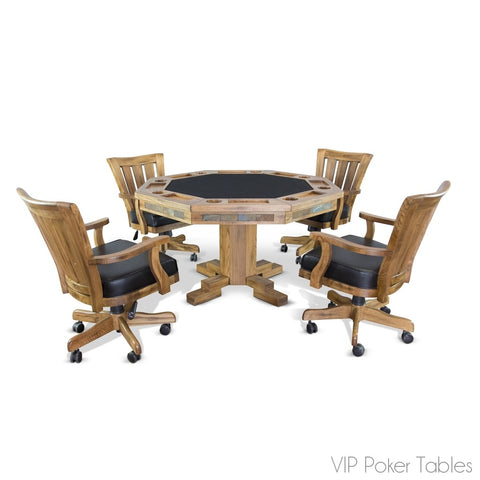 "Poker Table - Sunny Designs 54"" Sedona 1004RO Poker Dining Table With Pedestal Base"