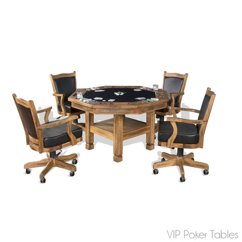 "Poker Table - Sunny Designs 54"" Sedona 1005RO Poker Dining Table With 4-Legged Base"