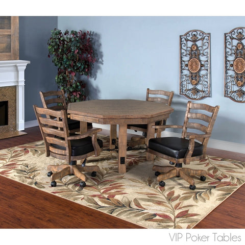 Poker Table - Sunny Designs Puebla 1006DW Poker Dining Table With 4-Legged Base