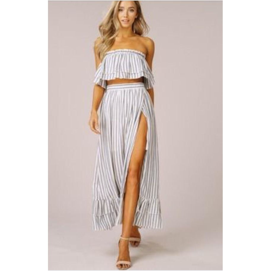 Sally Striped Top & Skirt Set