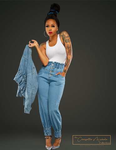 Chrisette Michele Denim Jacket and Jeans