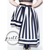 Sara Stripe High Low Skirt - Plus - Black / White