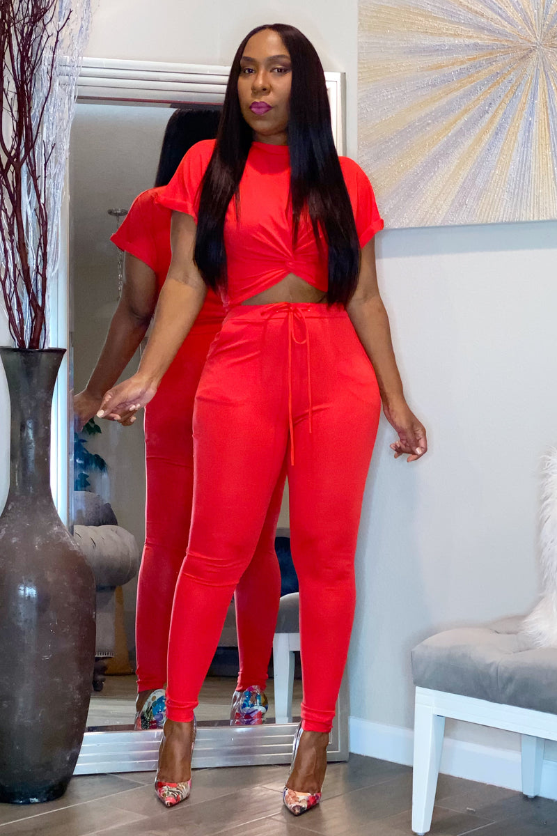 Rolanda Two Piece Crop and Pant Set - Red