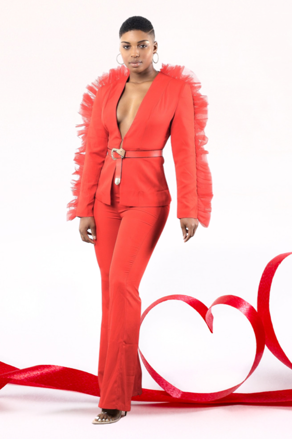 Chantelle Lux Haute Couture Suit - Red