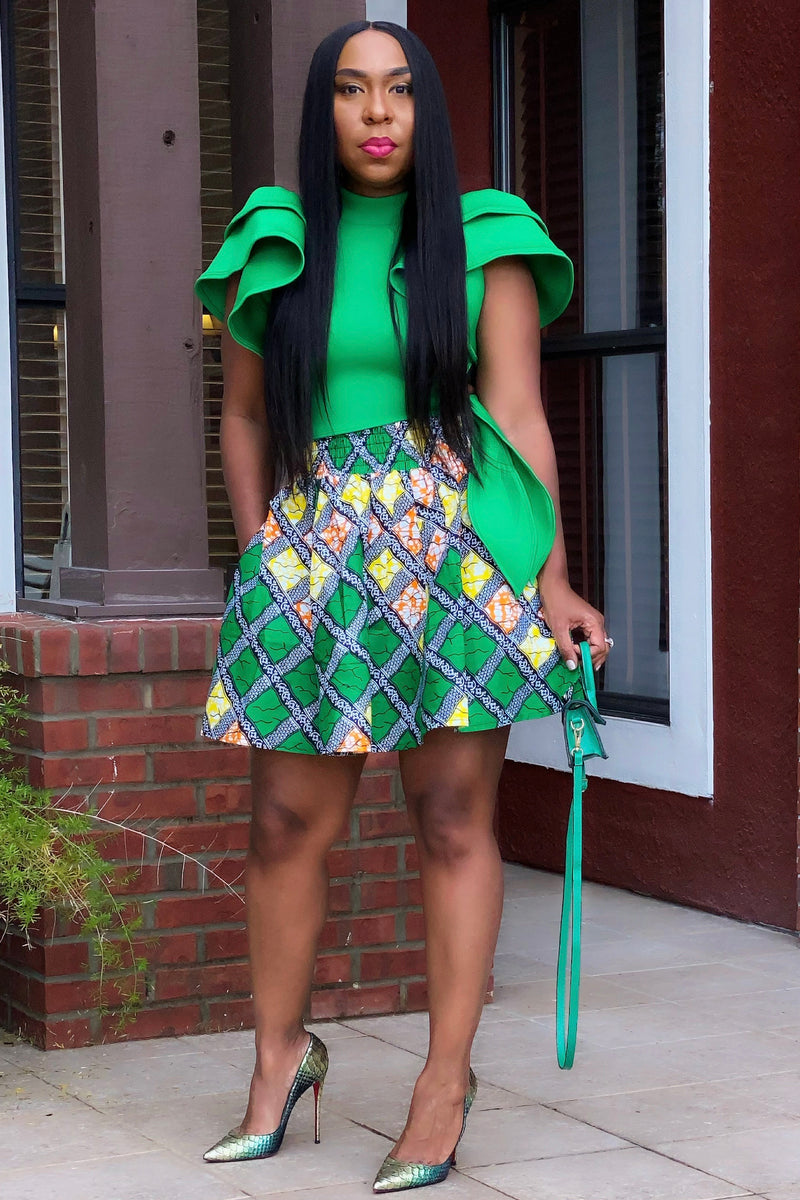 Akirah Ankara Mini Skirt - Green