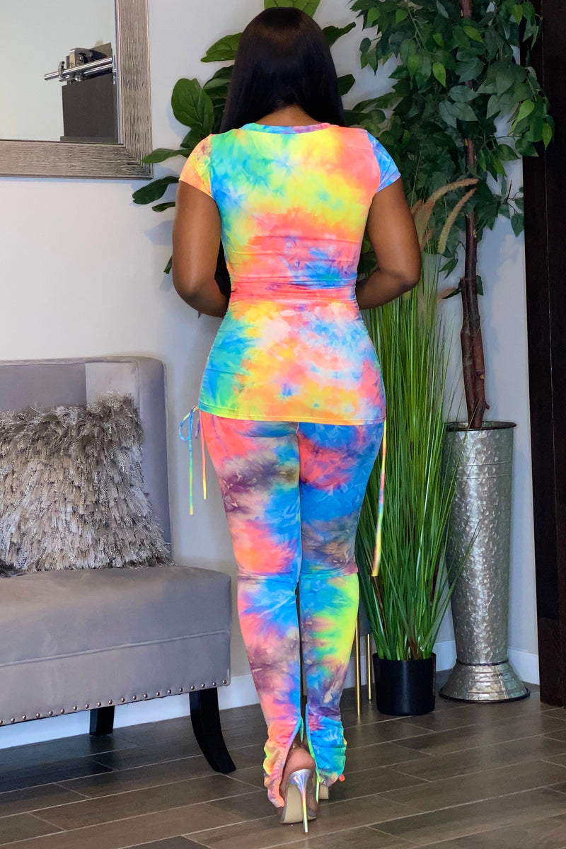 Holley Tie Dye Stretch Knit Pant Set- Bright Multi