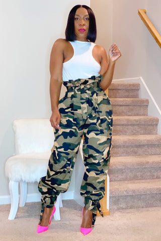 Judith Camo Paper Bag Pants - Green