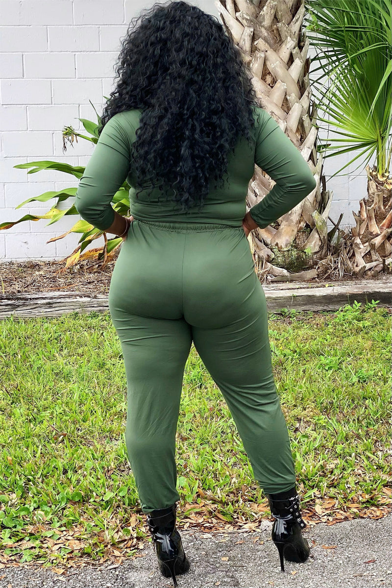 Tachina Scrunch Crop Top and Jogger Set-Olive