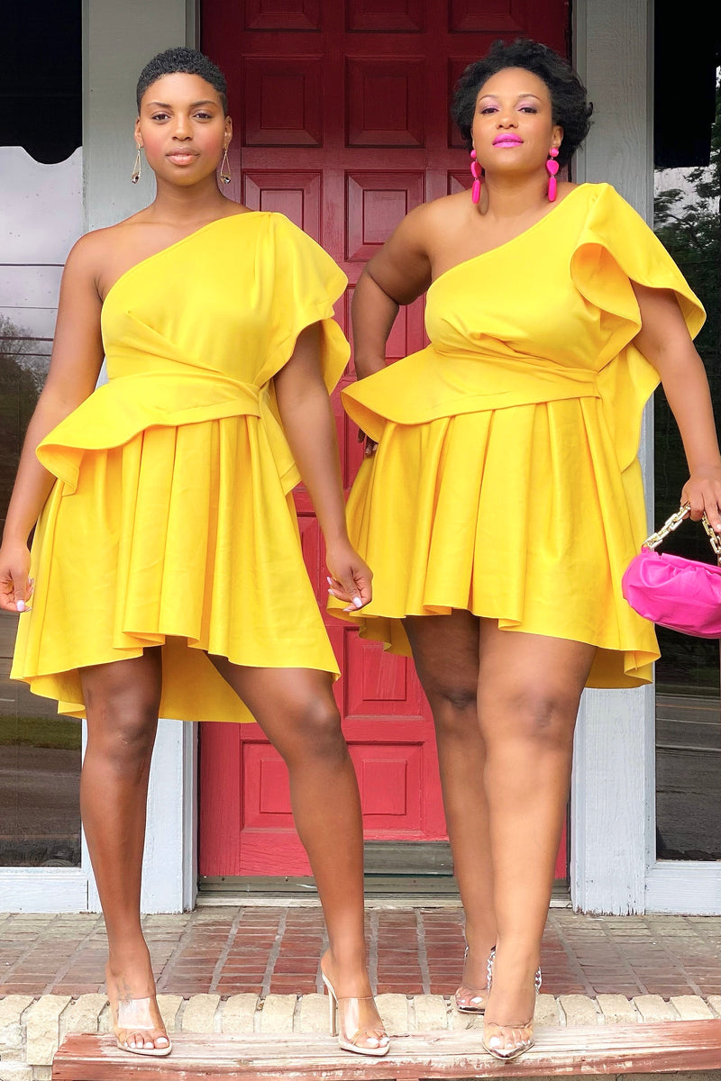 Sharon Scuba Knit Couture Dress - Yellow