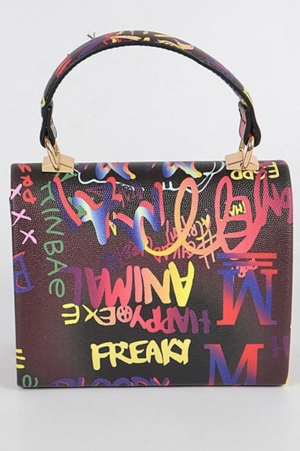 Laura Graffiti Print Top Handle Mini Bag