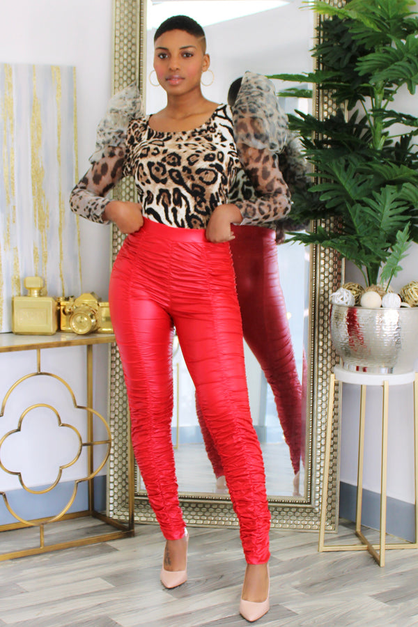 Laruth Leatherette Bungie Pants - Red