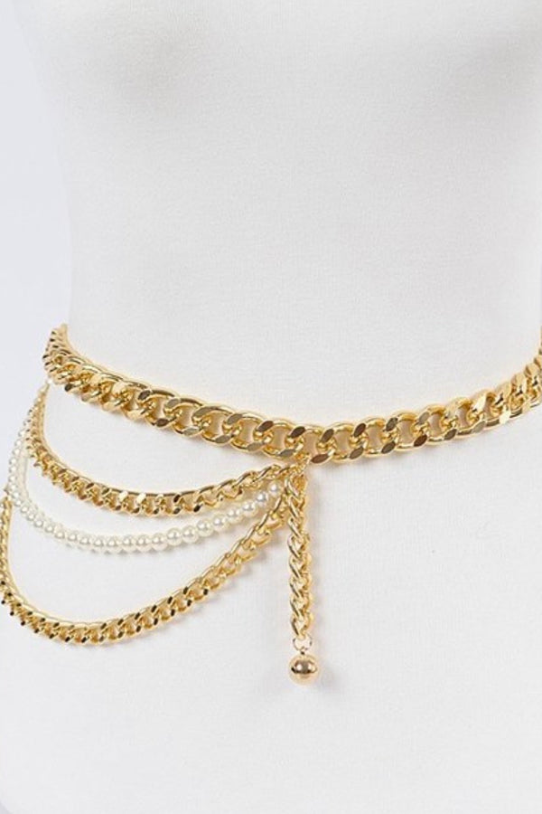 Pearl Layered Gold Chain Waist Belt