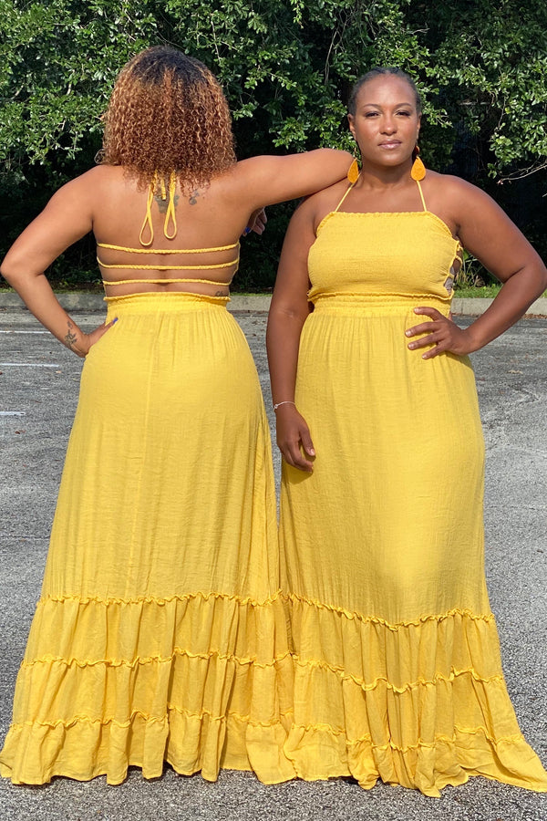 Sunny Tube Top Sleeveless Maxi Dress- Mustard
