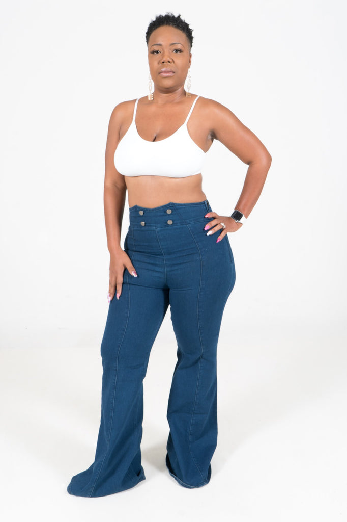 Thelma High Waist Button Front Bellbottom Jeans