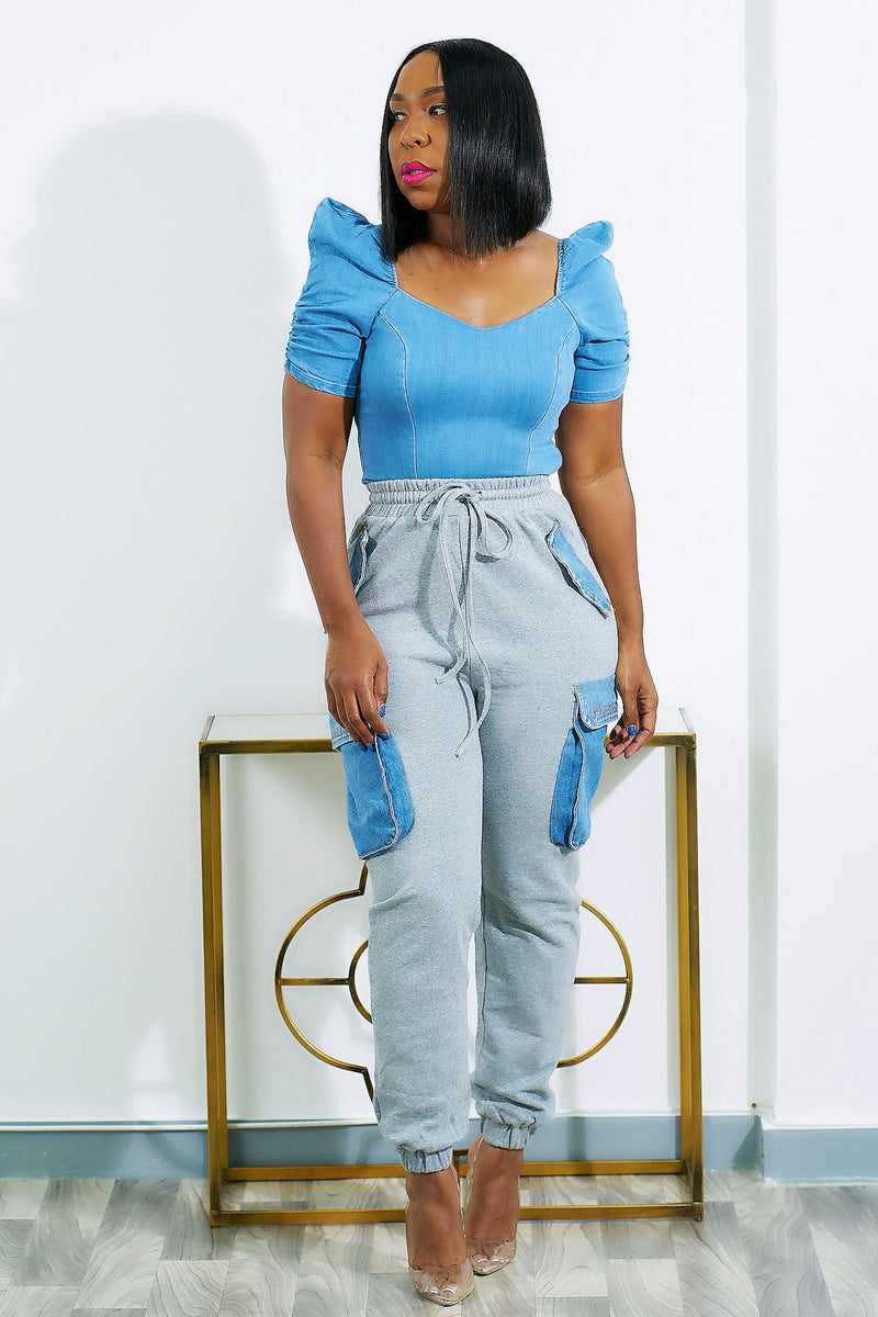 Queenie Hybrid Denim and Sweats Dressy Joggers-SHIPS 5/11