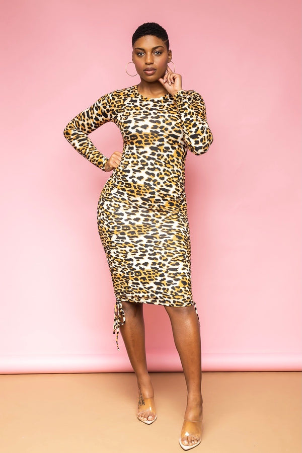 Kimberly Ruched Midi Dress-Leopard
