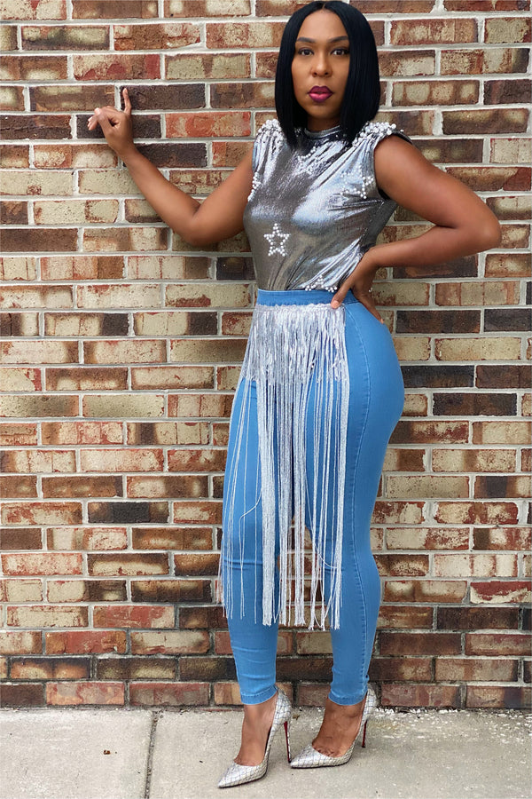 Crystal Sequin Fringe High Rise Skinny Jeans