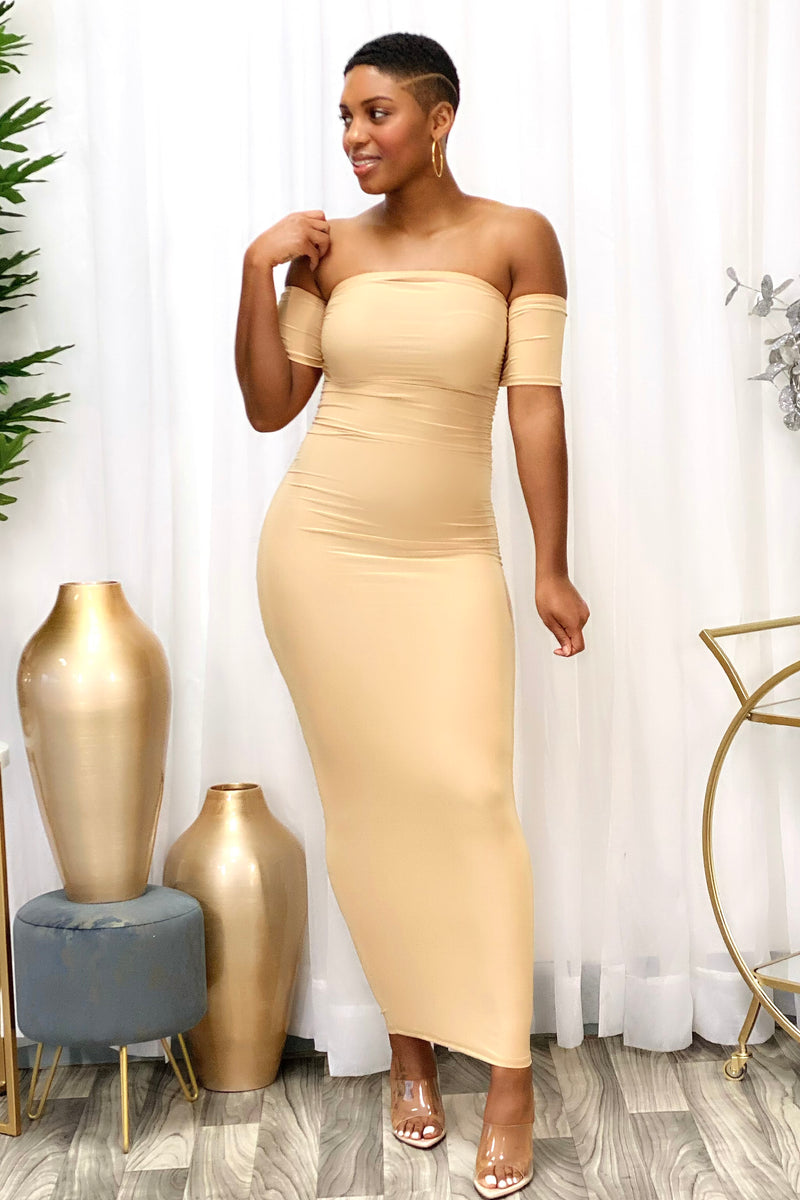 Carlie Ruched Bodycon Maxi Dress