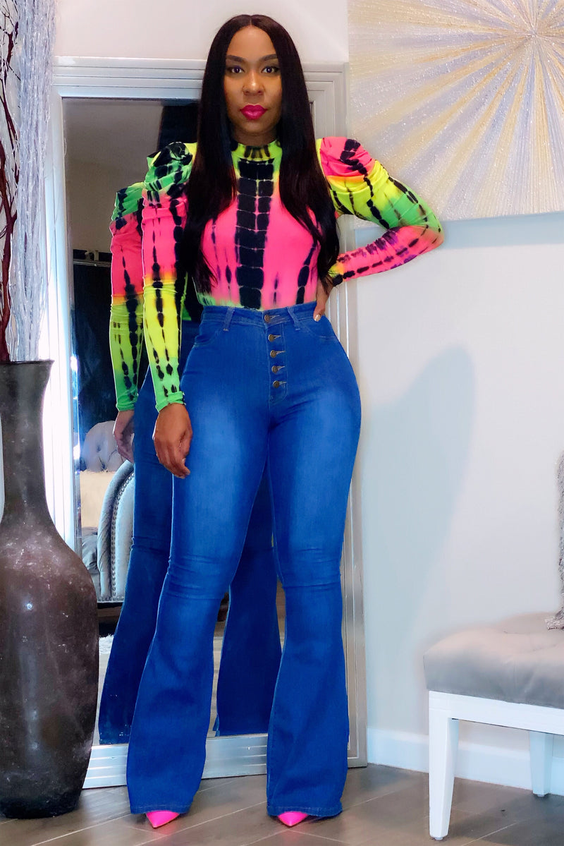 Chaveesha Button Fly High Waist Bellbottom Jeans
