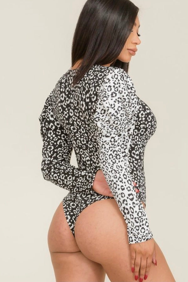 Lucinda Puffy Shoulder Leopard Color Block Print Bodysuit