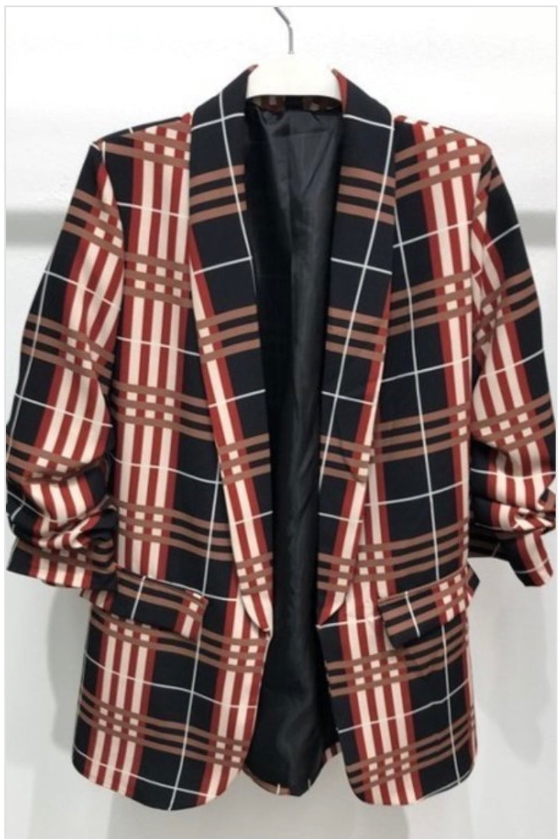 Chanceeta Puffy Shoulder Boyfriend Blazer - Plaid
