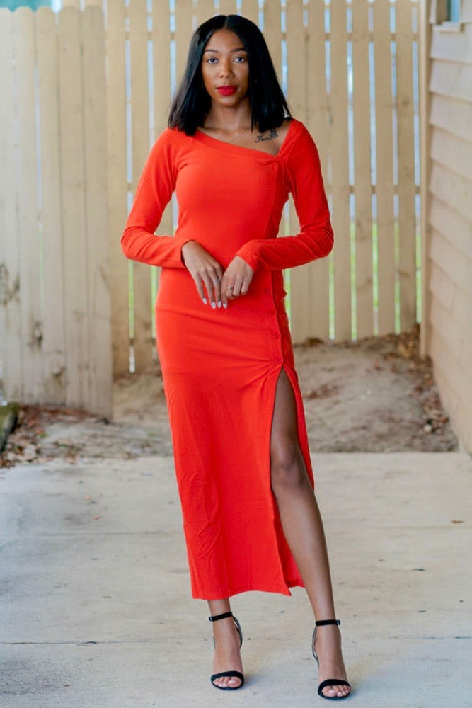 Saraih High Split Ribbed Knit Dress-Red Orange