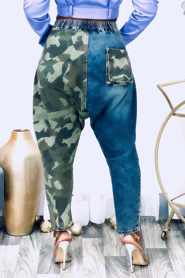 Cecelia Camo Color Blocked Distressed Harem Jeans